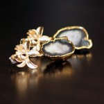 Geode Lotus Earrings